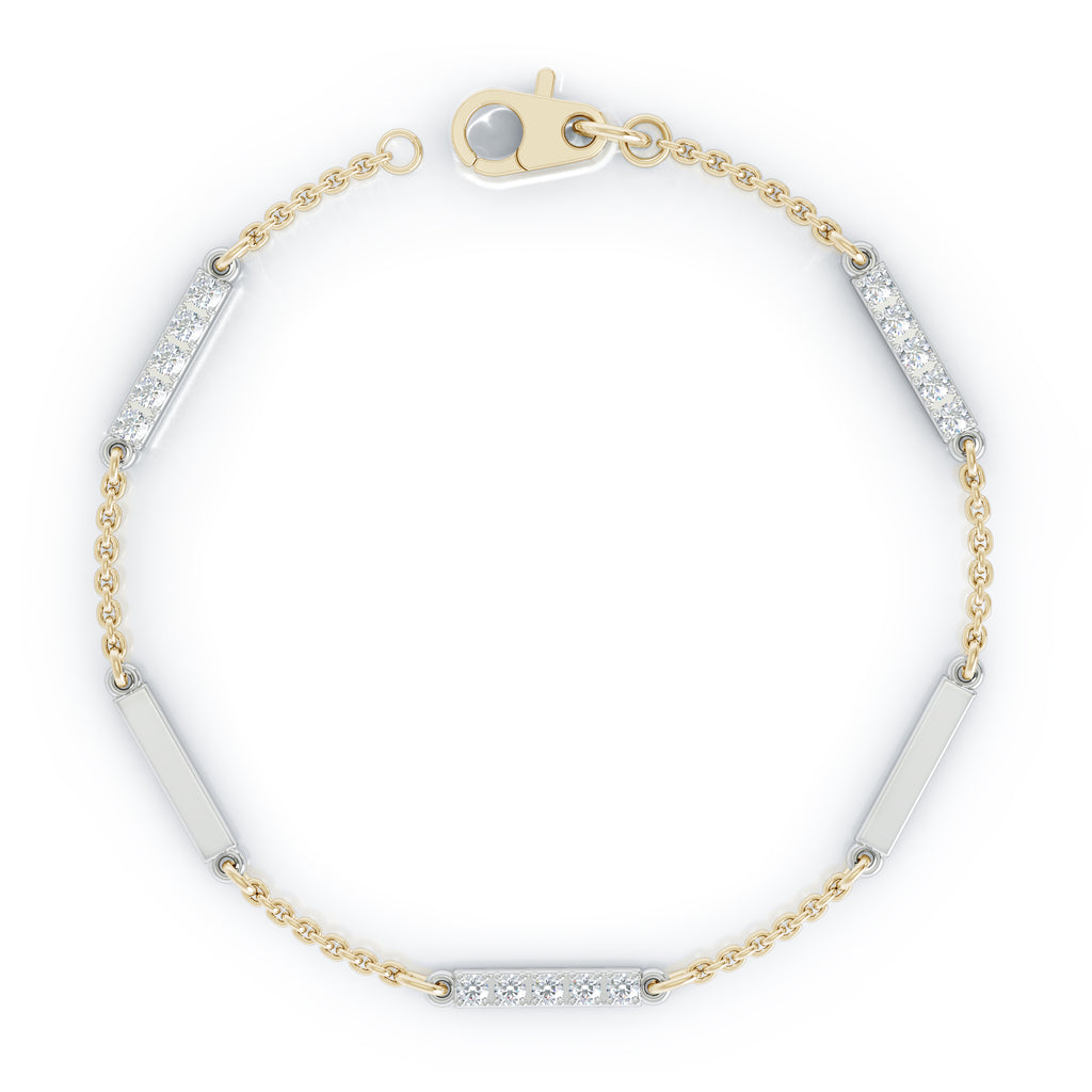 "14K Gold Diamond & Gold Bar Chain Two-Tone Station Necklace, 7"" (0.30 Ct, G-H, SI2-I1)"