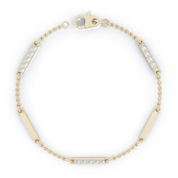 14K Gold Diamond & Gold Bar Chain Station Bracelet, 7