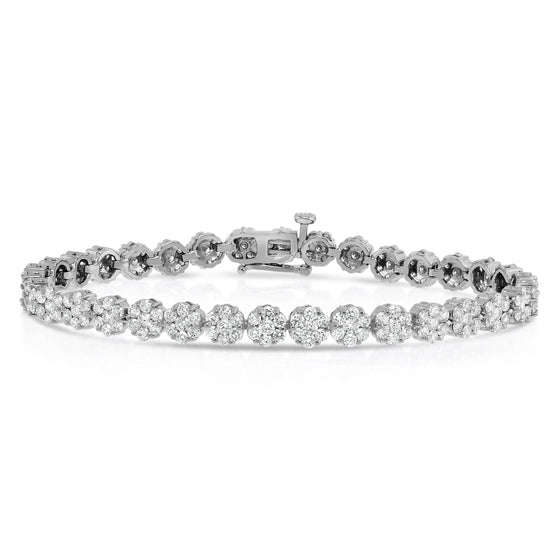14K White Gold Diamond (5 Ct, G-H, SI2-I1 Clarity) Flower Cluster Tennis Bracelet