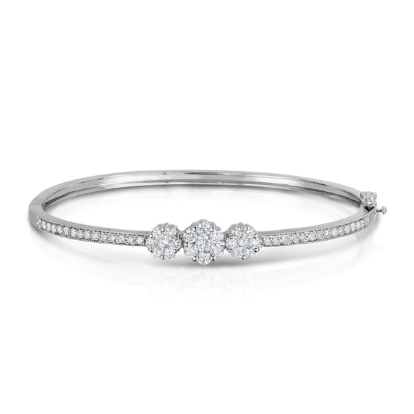 14K White Gold Diamond (1.50 Ct, G-H Color, SI2-I1 Clarity) Cluster Bangle