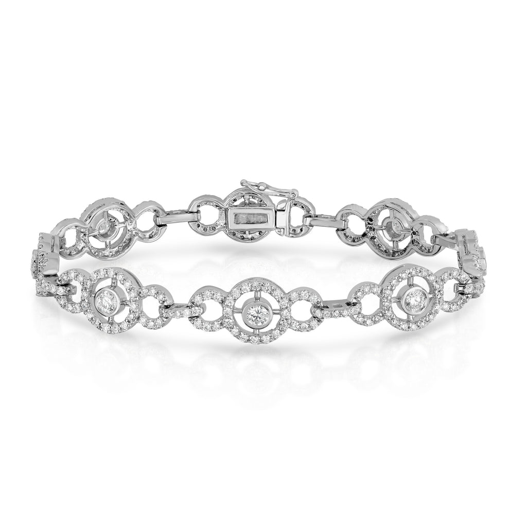14K White Gold Diamond (3.82 Ct, G-H, SI2-I1 Clarity) Circle Tennis Bracelet