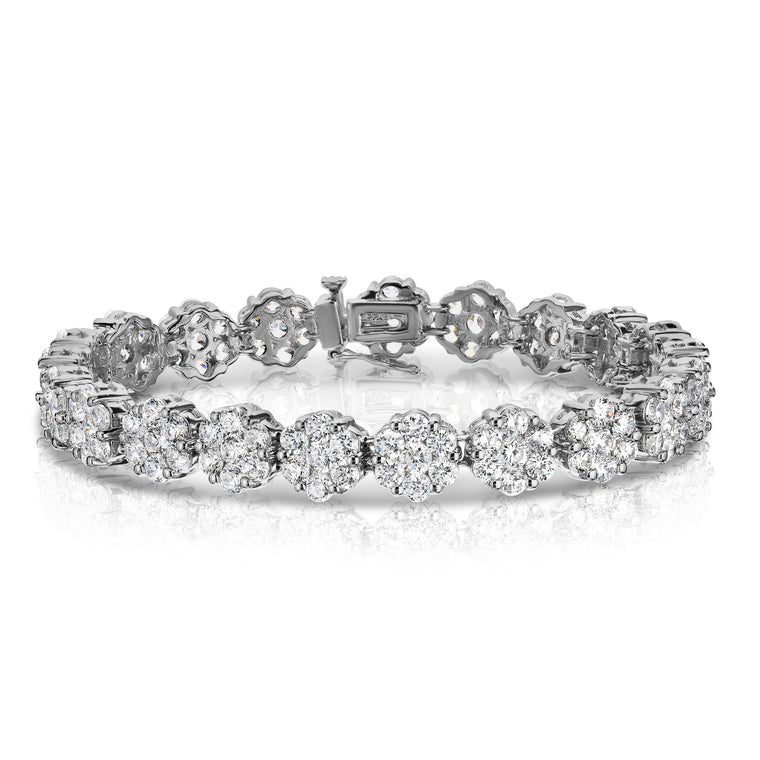 14K White Gold Diamond (10.5 Ct, G-H, SI2-I1 Clarity) Flower Cluster Tennis Bracelet