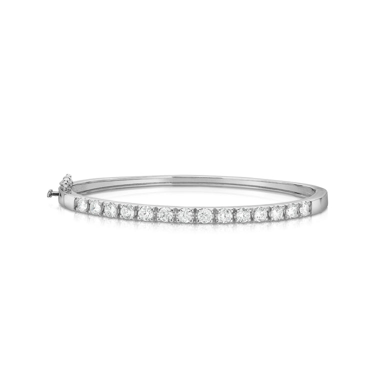 14K White Gold Diamond (1.50 Ct, G-H Color, I1-I2 Clarity) Bangle