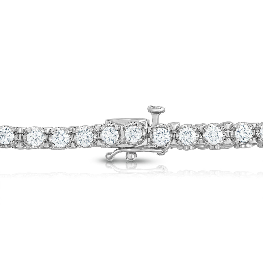 IGI Certified 14K White Gold Diamond (3 Ct, G-H Color, I1-I2 Clarity) Tennis Bracelet