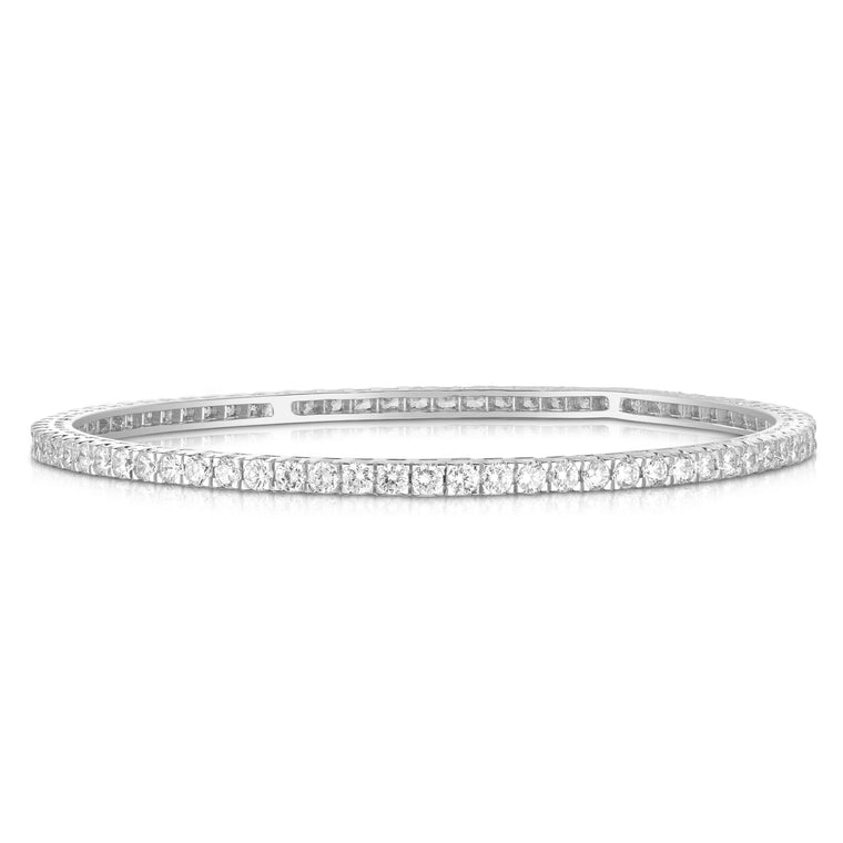 14K White Gold Diamond (4.50 Ct, G-H Color, SI2-I1 Clarity) Bangle
