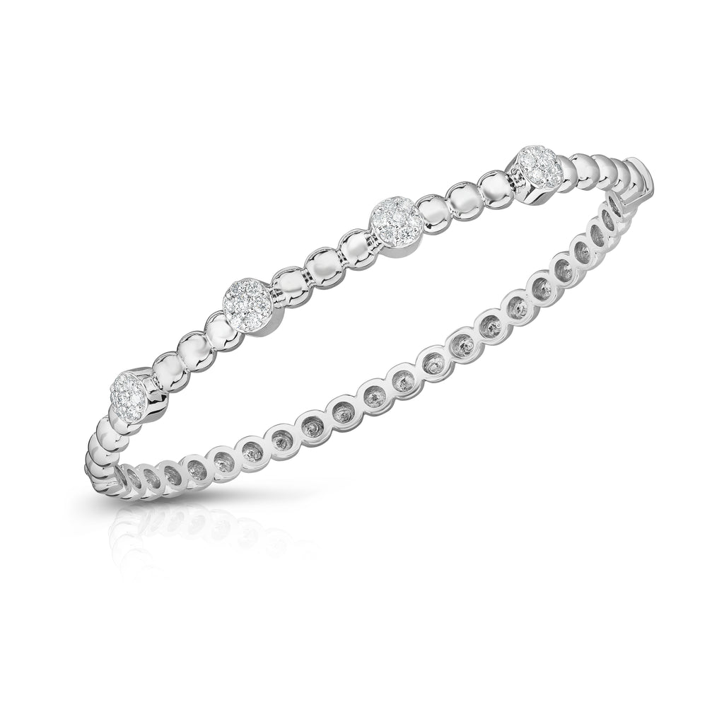14K Gold Beaded Diamond (0.40 Ct, G-H Color, SI2-I1 Clarity) Bangle