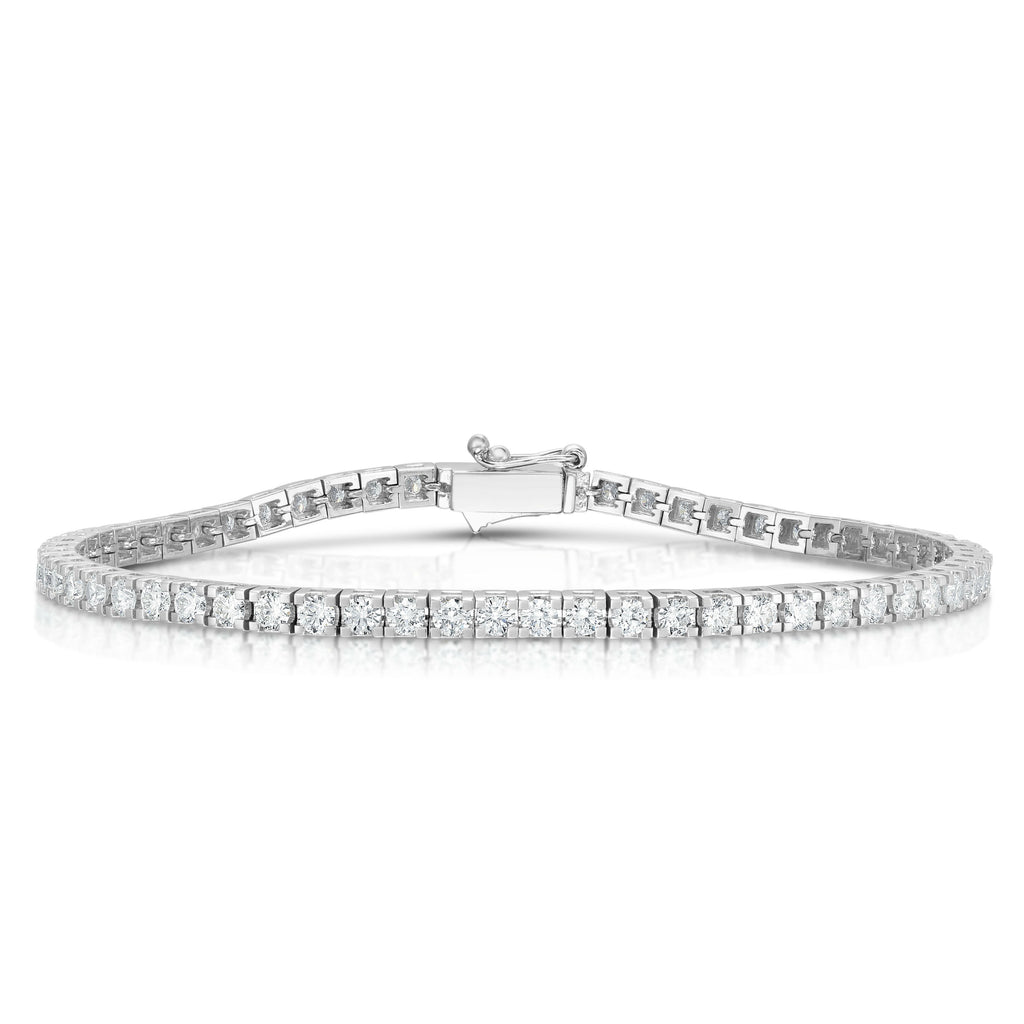 14K White Gold Diamond (3.80 Ct, G-H Color, SI2-I1 Clarity) Tennis Bracelet