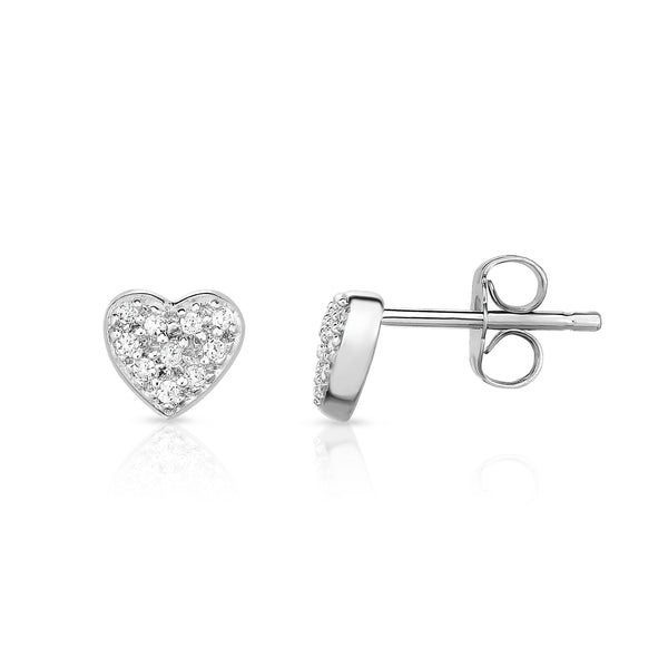 14K White Gold Diamond (0.12 Ct, G-H Color, SI2-I1 Clarity) Heart Earrings
