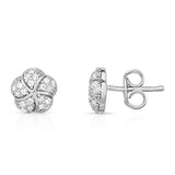 14K White Gold Diamond (0.30 Ct, G-H Color, SI2-I1 Clarity) Flower Earrings