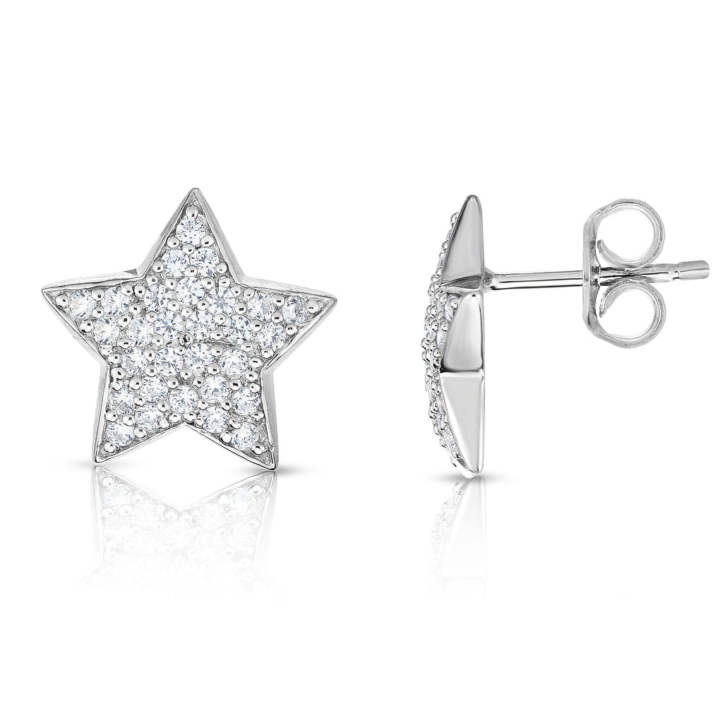 14K White Gold Diamond (0.60 Ct, G-H Color, SI2-I1 Clarity) Star Earrings