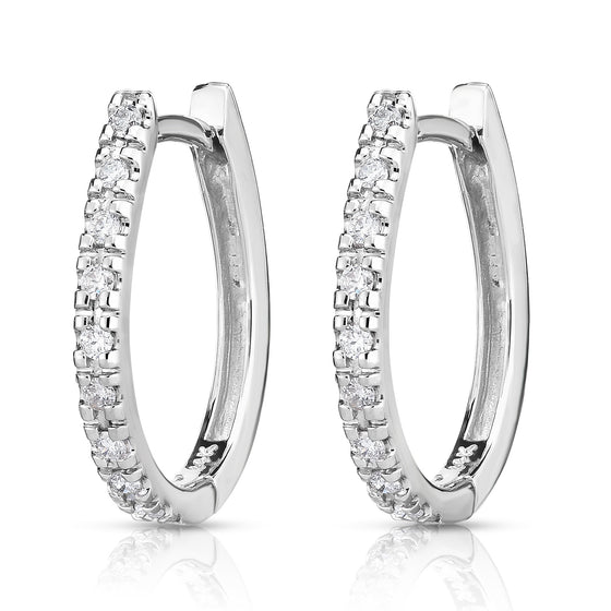 14K  Gold Diamond (0.22 Ct, G-H Color, I1-I2 Clarity) Hoop Earrings