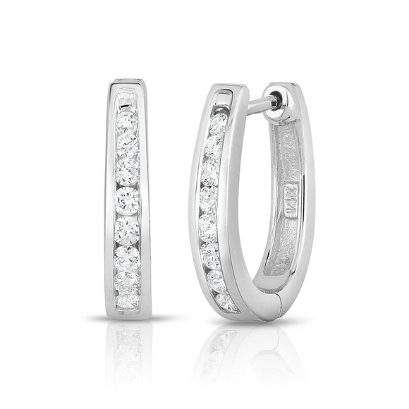 14K Gold Diamond (0.30 Ct, SI2-I1 Clarity, G-H Color) Huggie Earrings