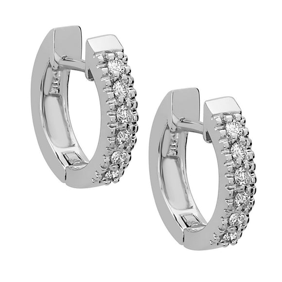 14K White Gold Diamond (0.12 Ct, G-H Color, SI2-I1 Clarity) Huggie Hoop Earrings