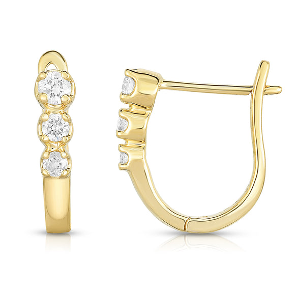14K Gold Diamond (0.20 Ct, I1-I2 Clarity, G-H Color) Huggie Earrings