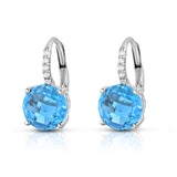 14K White Gold Blue Topaz, Amethyst OR Citrine & Diamond (0.08 Ct,G-H, SI2-I1) Earrings