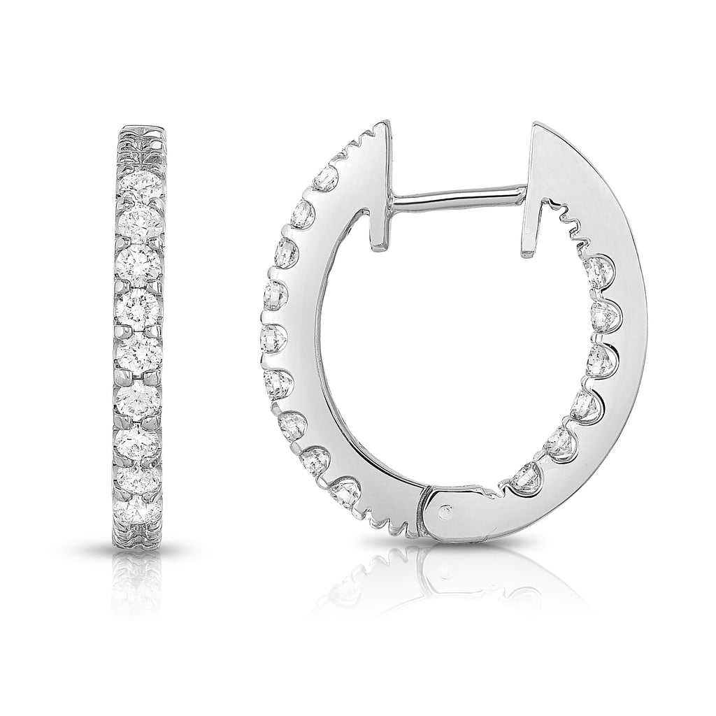 14K White Gold Inside-Out Diamond (1 Ct, G-H Color, SI2-I1 Clarity) Hoop Earrings