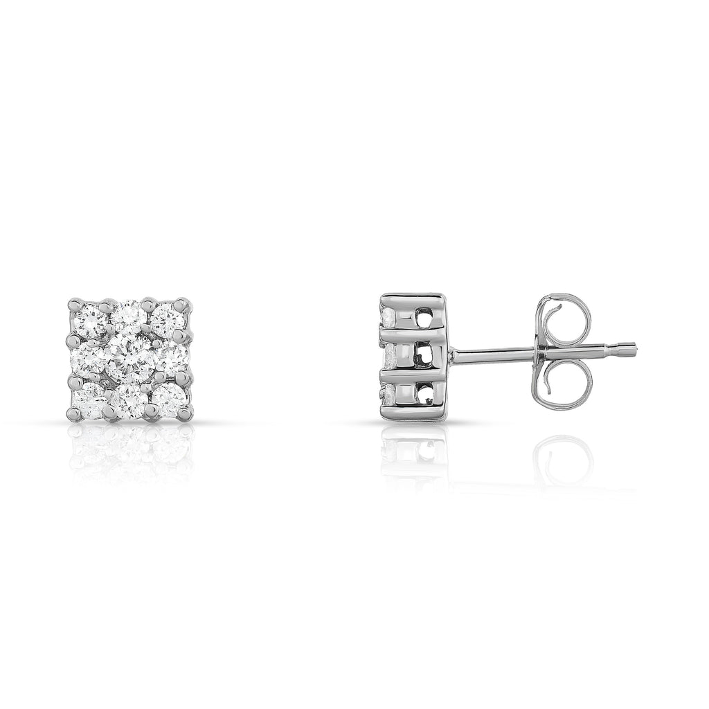14K White Gold Diamond (0.50 Ct, G-H Color, SI2-I1 Clarity) Cluster Square Stud Earrings