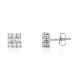 14K White Gold Diamond Cluster Square Stud Earrings (1/4 Ct, G-H, SI2-I1)