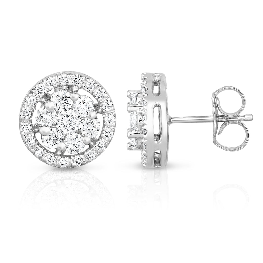 14K White Gold Diamond (0.95 Ct, G-H Color, SI2-I1 Clarity) Cluster Stud Earring