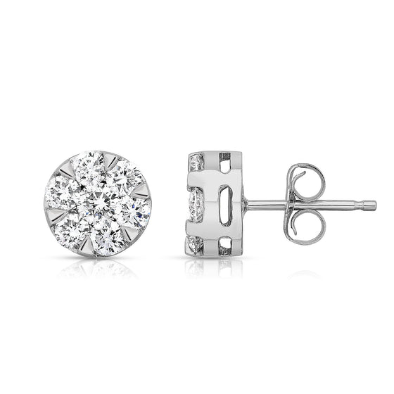 14K White Gold 6-Prong Diamond (1 Ct, G-H, SI2-I1) Flower Cluster Earrings