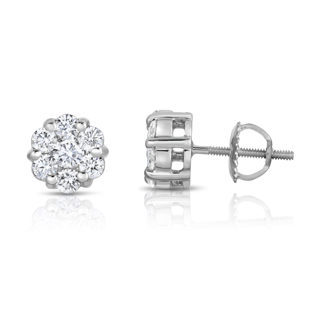 14K White Gold Diamond (1 Ct, G-H Color, SI2-I1 Clarity) Cluster Stud Earrings