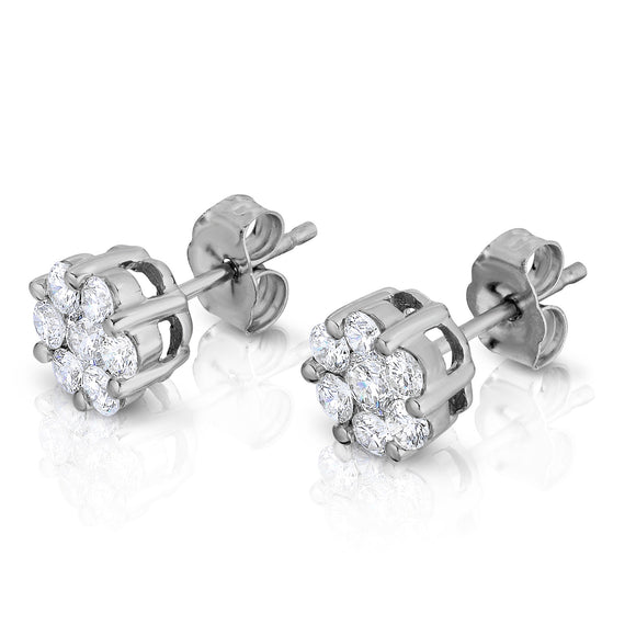 14K White Gold Diamond (3/4 Ct, G-H Color, SI2-I1 Clarity) Cluster Stud Earrings