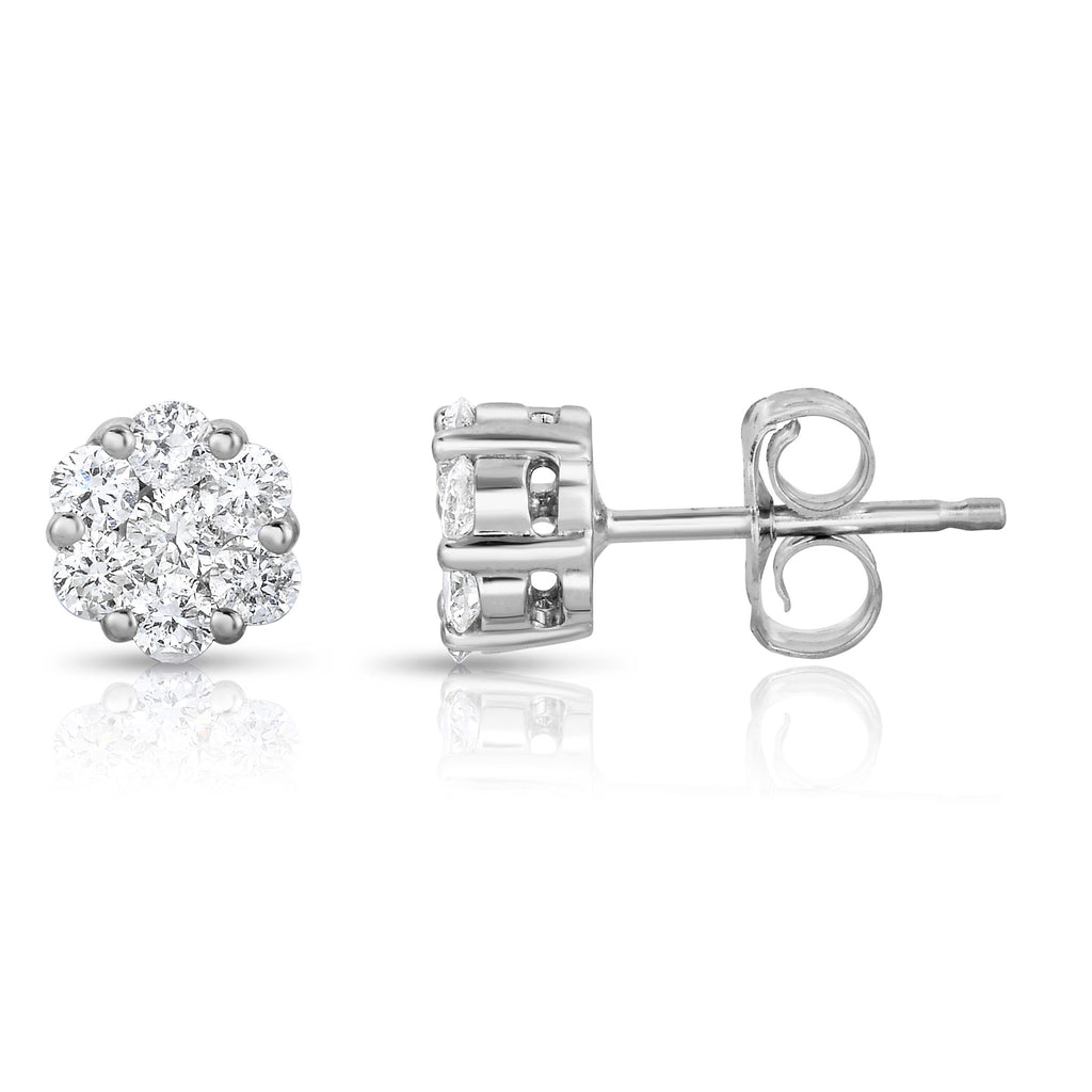14K White Gold Diamond (0.50 Ct, G-H Color, SI2-I1 Clarity) Cluster Stud Earrings