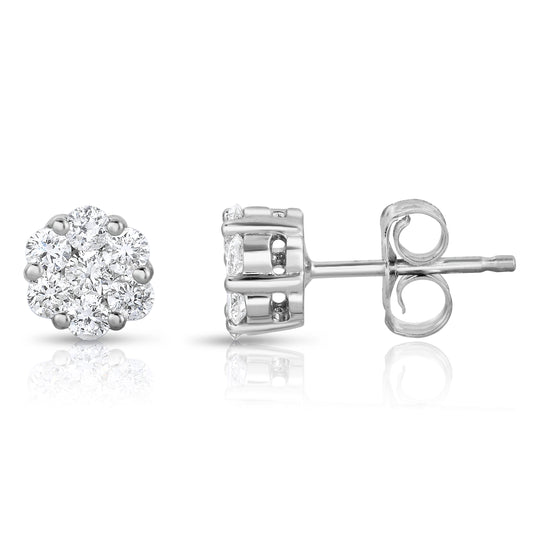 14K White Gold Diamond (1/4 Ct, G-H Color, SI2-I1 Clarity) Cluster Stud Earrings