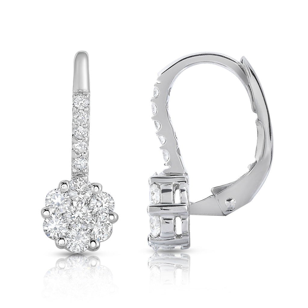 14K White Gold Diamond (0.90 Ct, G-H Color, SI2-I1 Clarity) Cluster Leverback Earrings