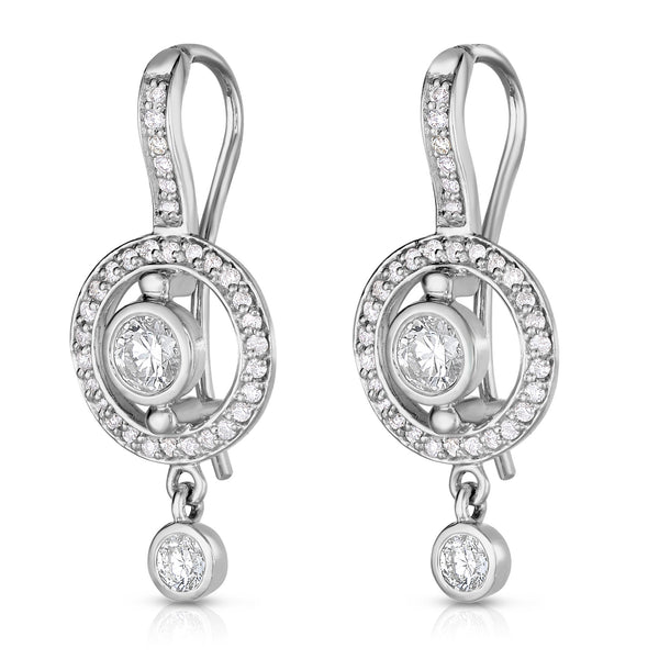 14K White Gold Bezel Set Diamond (0.90 Ct, G-H Color, SI2-I1 Clarity) Dangle Earrings