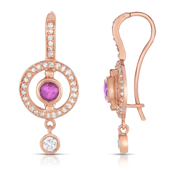 14K Rose Gold Pink Sapphire & Diamond (0.48 Ct, G-H Color, SI2-I1 Clarity) Dangle Earrings