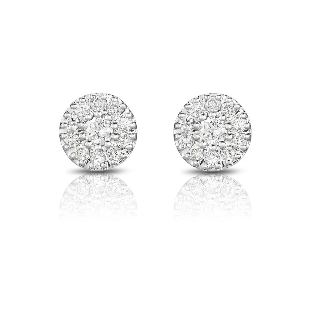 14K Gold Diamond (0.33 Ct, I1-I2 Clarity, G-H Color) Halo Stud Earrings