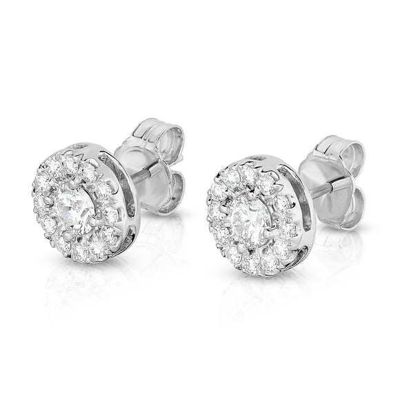 14K White Gold Diamond (0.80 Ct, G-H Color, SI2-I1 Clarity) Round Cluster Stud Earring