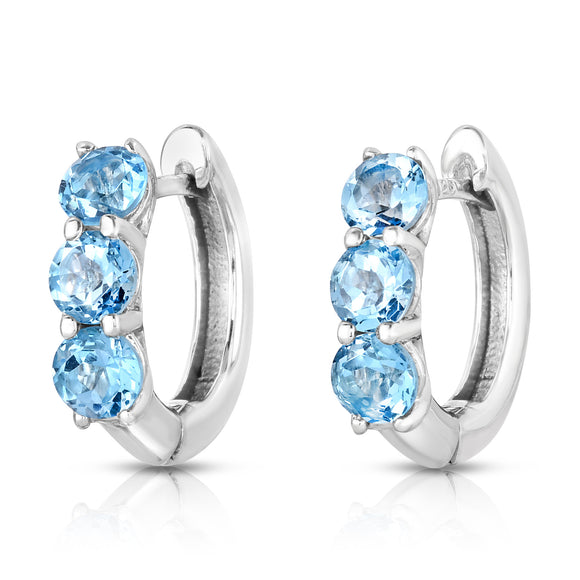 Sterling Silver Blue Topaz (4 Ct) 3-Stone Hoop Earrings
