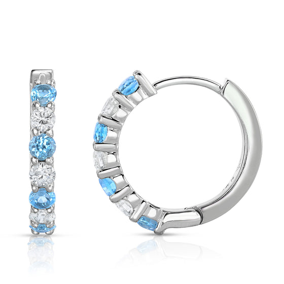 14K White Gold Blue Topaz & Diamond (0.45 CT, G-H Color, SI2-I1 Clarity) Hoop Earrings