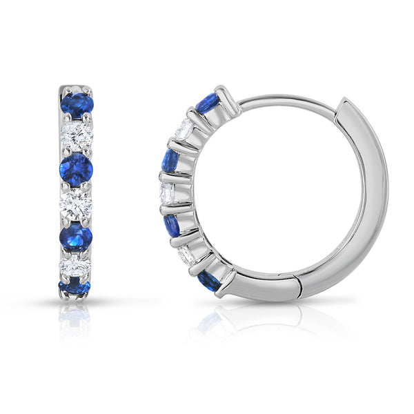 14K White Gold Blue Sapphire & Diamond (0.30 Ct, G-H Color, SI2-I1 Clarity) Hoop Earrings
