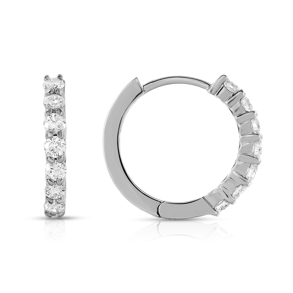 14K White Gold Diamond (0.62 Ct, G-H Color, SI2-I1 Clarity) Huggie Hoop Earrings
