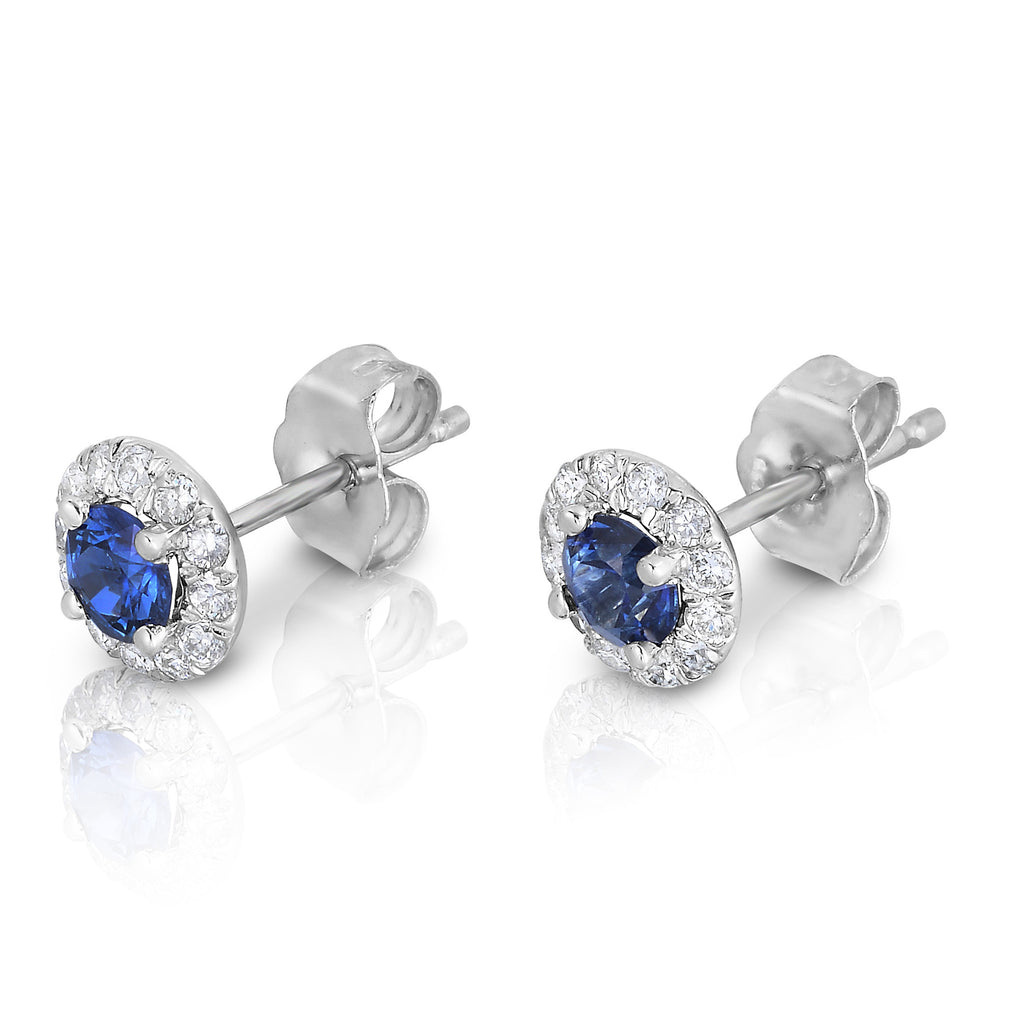 14K White Gold  Blue Sapphire & Diamond (0.22 Ct, G-H Color,SI2-I1 Clarity) Earrings