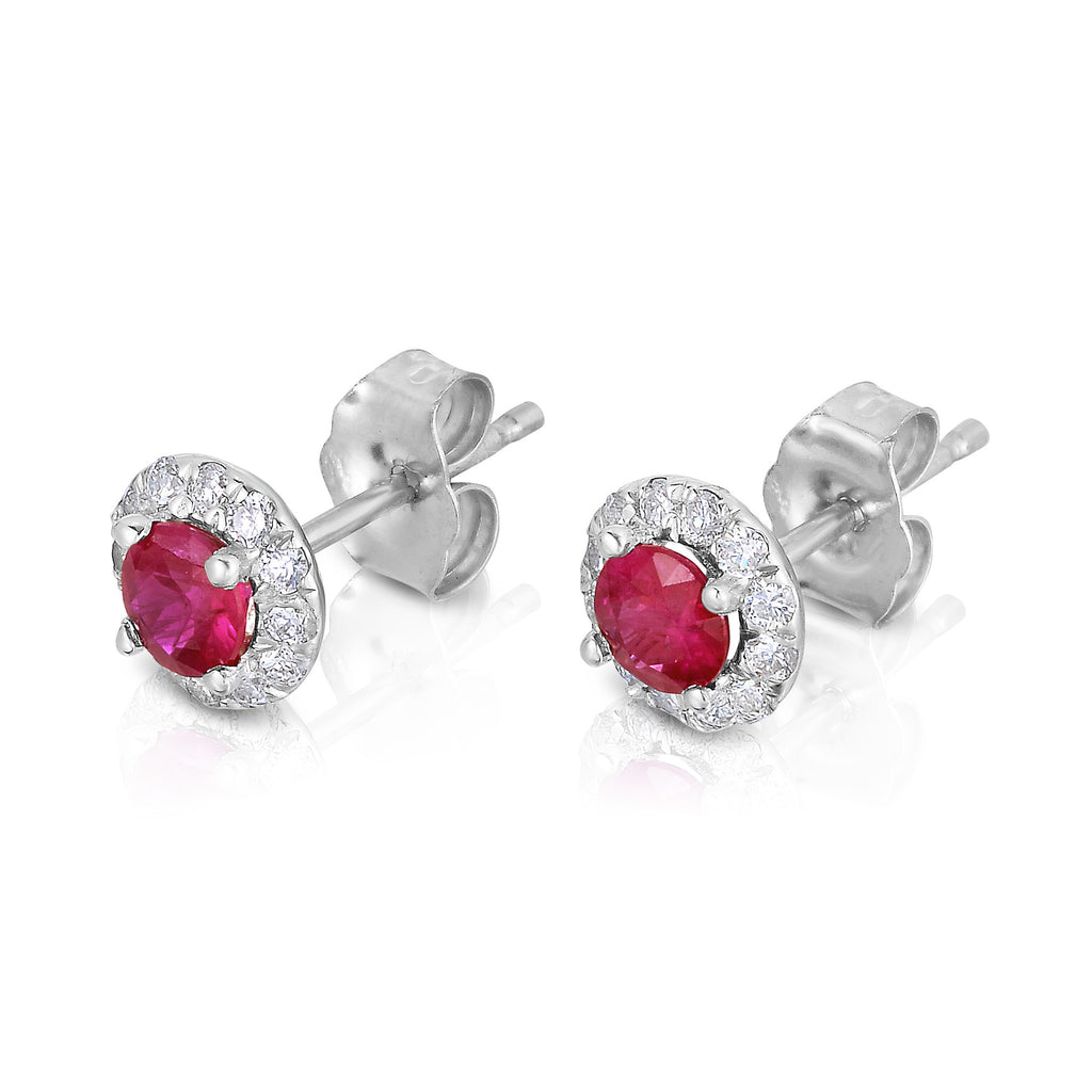 14K White Gold Ruby & Diamond (0.22 Ct, G-H Color,SI2-I1 Clarity) Earrings