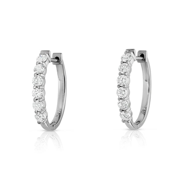 14K White Gold Diamond (0.85 Ct, G-H Color, SI2-I1 Clarity) Hoop Earrings