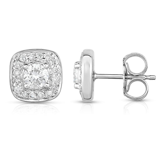 14K White Gold Diamond (0.65 Ct, G-H Color, SI2-I1 Clarity) Square Cluster Stud Earring