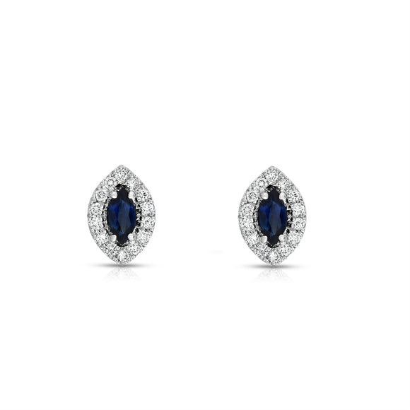 14K White Gold Blue Sapphire and Diamond (1/4 Ct, G-H Color, SI2-I1 Clarity) Marquise Shape Earrings