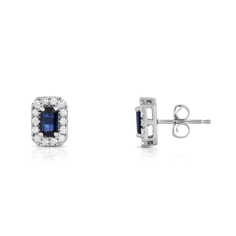 14K White Gold Blue Sapphire and Diamond (1/4 Ct, G-H Color, SI2-I1 Clarity) Emerald Shape Earrings