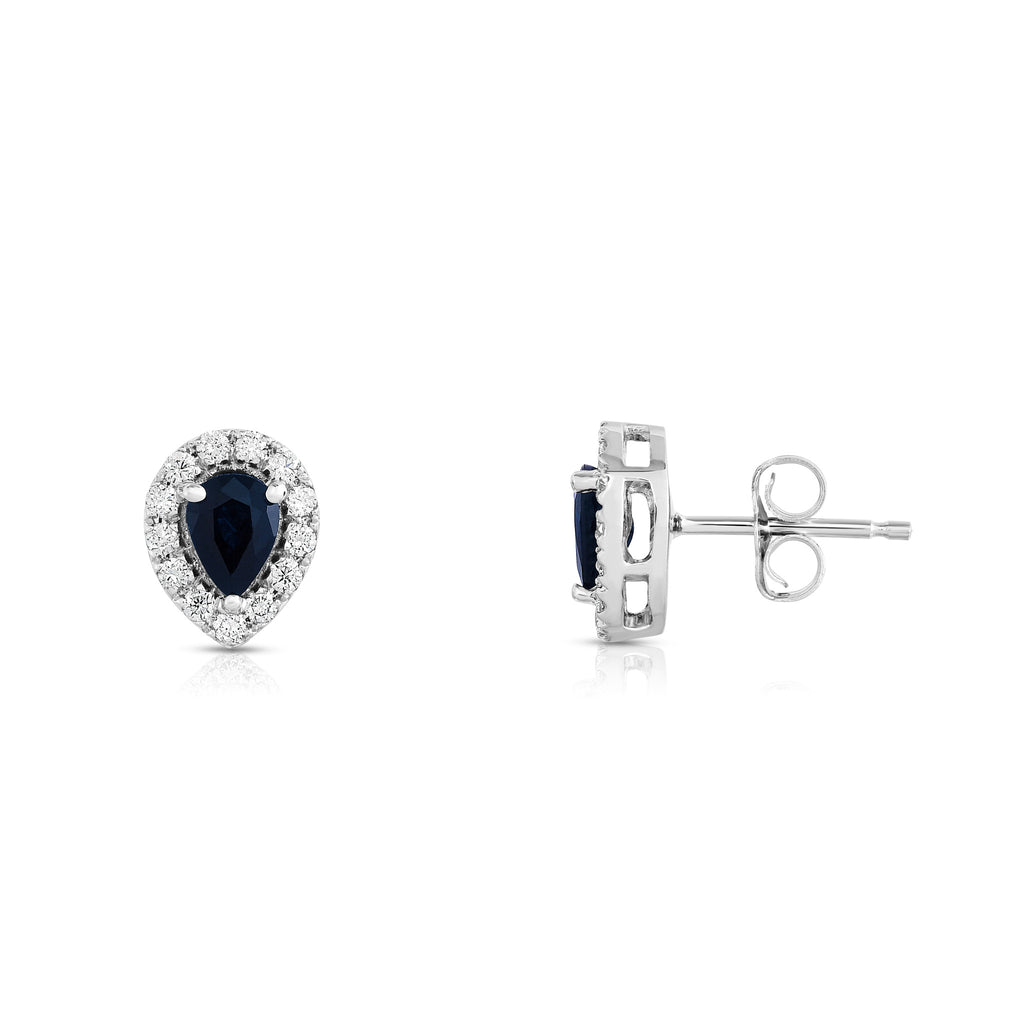 14K White Gold Blue Sapphire and Diamond (1/4 Ct, G-H Color, SI2-I1 Clarity) Pear Shape Earrings