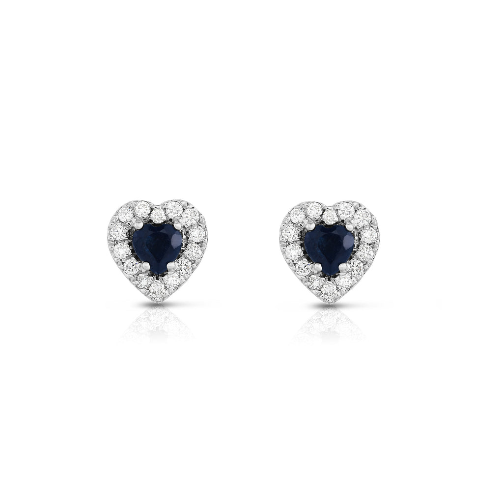 14K White Gold Blue Sapphire and Diamond (1/4 Ct, G-H Color, SI2-I1 Clarity) Heart Shape Earrings