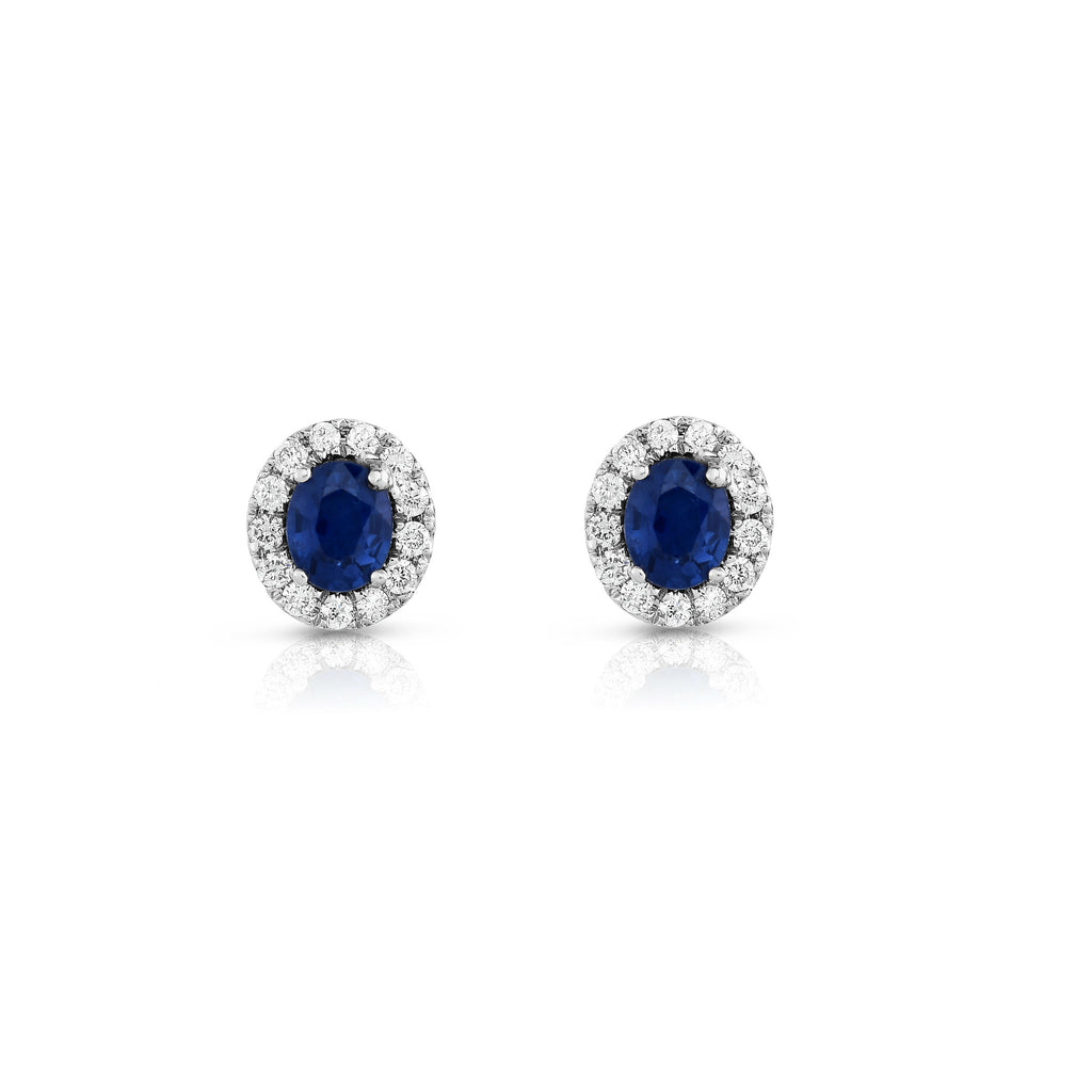 14K White Gold Blue Sapphire and Diamond (1/4 Ct, G-H Color, SI2-I1 Clarity) Oval Shape Earrings