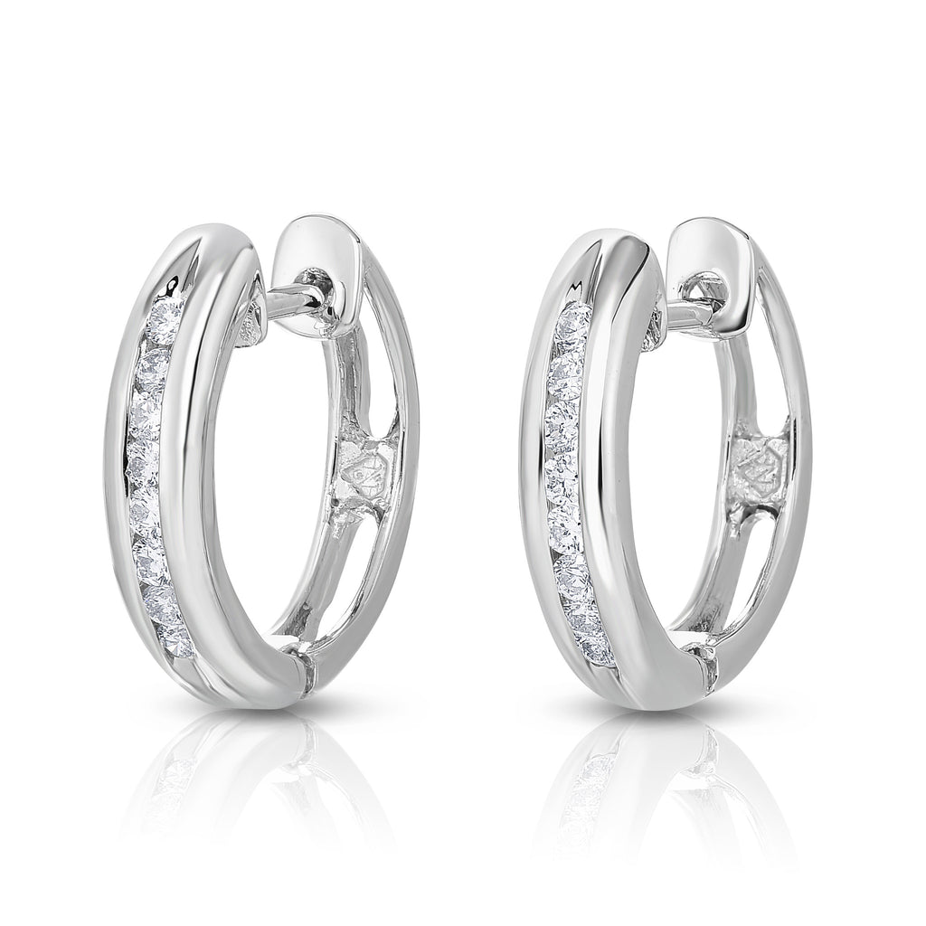14K White Or Yellow Gold Diamond (0.24 Ct, I1-I2 Clarity, G-H Color) Hoop Earrings