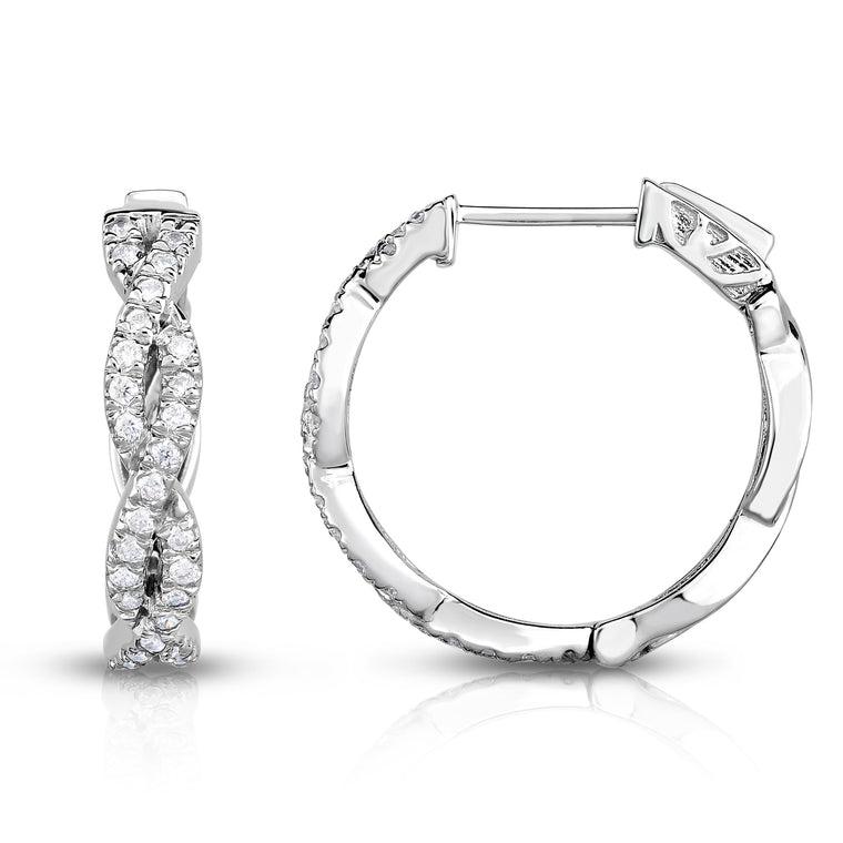 14K White Gold Diamond (1/2 Ct, G-H Color, SI2-I1 Clarity) Infinity Hoop Earrings