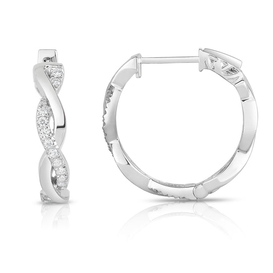 14K Gold Diamond (0.22 Ct, G-H Color, SI2-I1 Clarity) Infinity Hoop Earrings