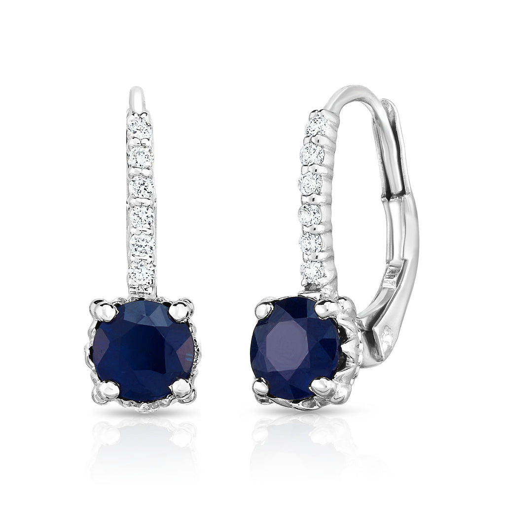 14K White Gold Blue Sapphire & Diamond (0.08 Ct, G-H Color, SI2-I1 Clarity) Leverback Earrings